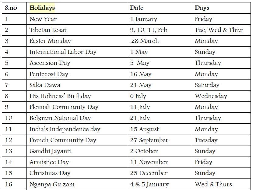 Public Holidays 2017